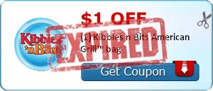 $1.00 off (1) Kibbles n Bits American Grill™ bag