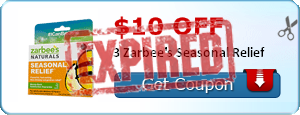 $10.00 off 3 Zarbee's Seasonal Relief