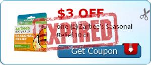 $3.00 off one (1) Zarbee's Seasonal Relief 10 ct
