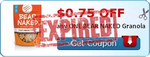 $0.75 off any ONE BEAR NAKED Granola
