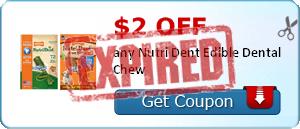 $2.00 off any Nutri Dent Edible Dental Chew