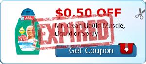 $0.50 off Mr. Clean Liquid Muscle, Liquid or Spray