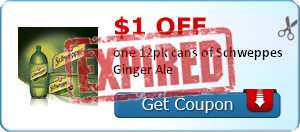 $1.00 off one 12pk cans of Schweppes Ginger Ale