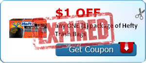 $1.00 off any ONE (1) package of Hefty Trash Bags