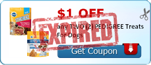$1.00 off any TWO (2) PEDIGREE Treats For Dogs