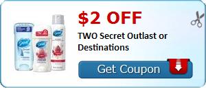 $2.00 off TWO Secret Outlast or Destinations