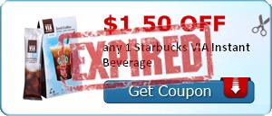 $1.50 off any 1 Starbucks VIA Instant Beverage