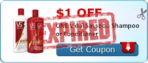 $1.00 off ONE Vidal Sassoon Shampoo or Conditioner