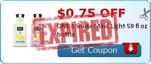 $0.75 off ONE Minute Maid Light 59 fl oz bottle