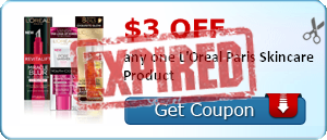 $3.00 off any one L'Oreal Paris Skincare Product