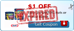 $1.00 off TWO (2) PLANTERS Nuts or Peanut Butter