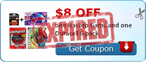 graphic relating to Hasbro Printable Coupon identify $8.00 off a single Hasbro Activity and a single Duracell 6pk Batteries