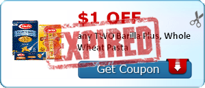 $1.00 off any TWO Barilla Plus, Whole Wheat Pasta