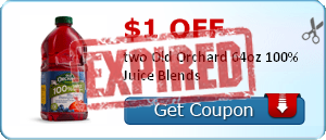 $1.00 off two Old Orchard 64oz 100% Juice Blends
