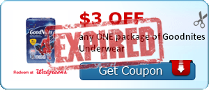 $3.00 off any ONE package of Goodnites Underwear