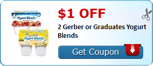$1.00 off 2 Gerber or Graduates Yogurt Blends