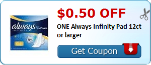 $0.50 off ONE Always Infinity Pad 12ct or larger