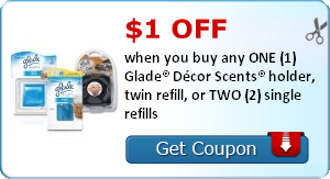 $1.00 off when you buy any ONE (1) Glade® Décor Scents® holder, twin refill, or TWO (2) single refills