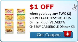 $1.00 off when you buy any TWO (2) VELVEETA CHEESY SKILLETS Dinner Kit or VELVEETA CHEESY CASSEROLE Dinner Kit