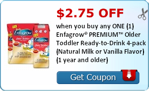 $2.75 off when you buy any ONE (1) Enfagrow® PREMIUM™ Older Toddler Ready-to-Drink 4-pack (Natural Milk or Vanilla Flavor) (1 year and older)