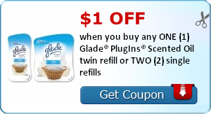 $1.00 off when you buy any ONE (1) Glade® PlugIns® Scented Oil twin refill or TWO (2) single refills