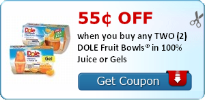 55¢ off when you buy any TWO (2) DOLE Fruit Bowls® in 100% Juice or Gels