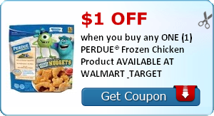 $1.00 off when you buy any ONE (1) PERDUE® Frozen Chicken Product AVAILABLE AT WALMART & TARGET
