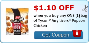 $1.10 off when you buy any ONE (1) bag of Tyson® Any'tizers® Popcorn Chicken