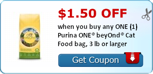 $1.50 off when you buy any ONE (1) Purina ONE® beyOnd® Cat Food bag, 3 lb or larger