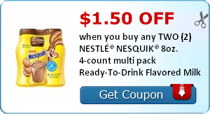 $1.50 off when you buy any TWO (2) NESTLÉ® NESQUIK® 8oz. 4-count multi pack Ready-To-Drink Flavored Milk