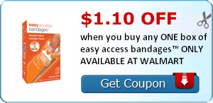 $1.10 off when you buy any ONE (1) box of easy access bandages™ AVAILABLE AT WALMART, MEIJER, AND HEB
