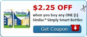 $2.25 off when you buy any ONE (1) Similac® Simply Smart Bottles