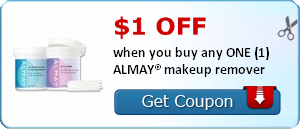 $1.00 off when you buy any ONE (1) ALMAY® makeup remover
