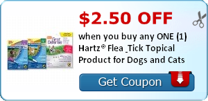 $2.50 off when you buy any ONE (1) Hartz® Flea & Tick Topical Product for Dogs and Cats