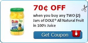 70¢ off when you buy any TWO (2) Jars of DOLE® All Natural Fruit in 100% Juice