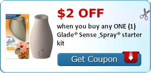 $2.00 off when you buy any ONE (1) Glade® Sense & Spray® starter kit