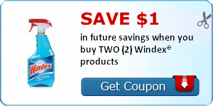 Save $1.00 in future savings when you buy TWO (2) Windex® products
