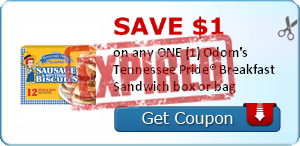 SAVE $1.00 on any ONE (1) Odom's Tennessee Pride® Breakfast Sandwich box or bag