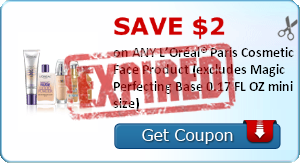 SAVE $2.00 on ANY L'Oréal® Paris Cosmetic Face Product (excludes Magic Perfecting Base 0.17 FL OZ mini size)