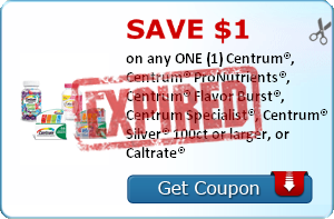 SAVE $1.00 on any ONE (1) Centrum®, Centrum® ProNutrients®, Centrum® Flavor Burst®, Centrum Specialist®, Centrum® Silver® 100ct or larger, or Caltrate®