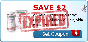 SAVE $2.00 on ANY Nature's Bounty® Optimal Solutions® Hair, Skin & Nails product
