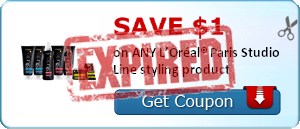 SAVE $1.00 on ANY L'Oréal® Paris Studio Line styling product