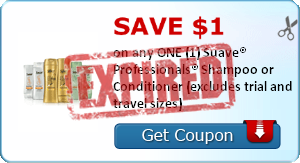 SAVE $1.00 on any ONE (1) Suave® Professionals® Shampoo or Conditioner (excludes trial and travel sizes)