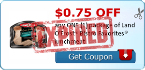 $0.75 OFF any ONE (1) package of Land O'Frost® Bistro Favorites® lunchmeat