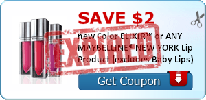 SAVE $2.00 new Color ELIXIR™ or ANY MAYBELLINE® NEW YORK Lip Product (excludes Baby Lips)
