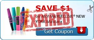SAVE $1.00 on ANY MAYBELLINE® NEW YORK Mascara