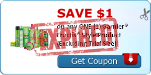 SAVE $1.00 on any ONE (1) Garnier® Fructis® Style Product (Excluding Trial Size)