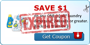 SAVE $1.00 on any ONE (1) all® laundry detergent, 24 loads or greater. (Excludes trial size.)