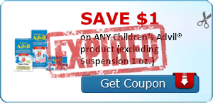 SAVE $1.00 on ANY Children's Advil® product (excluding Suspension 1 oz.)