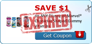 SAVE $1.00 on ANY Disney or Marvel® Character Shaped Gummy Vitamins